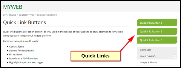 quick link buttons myweb ufv ca