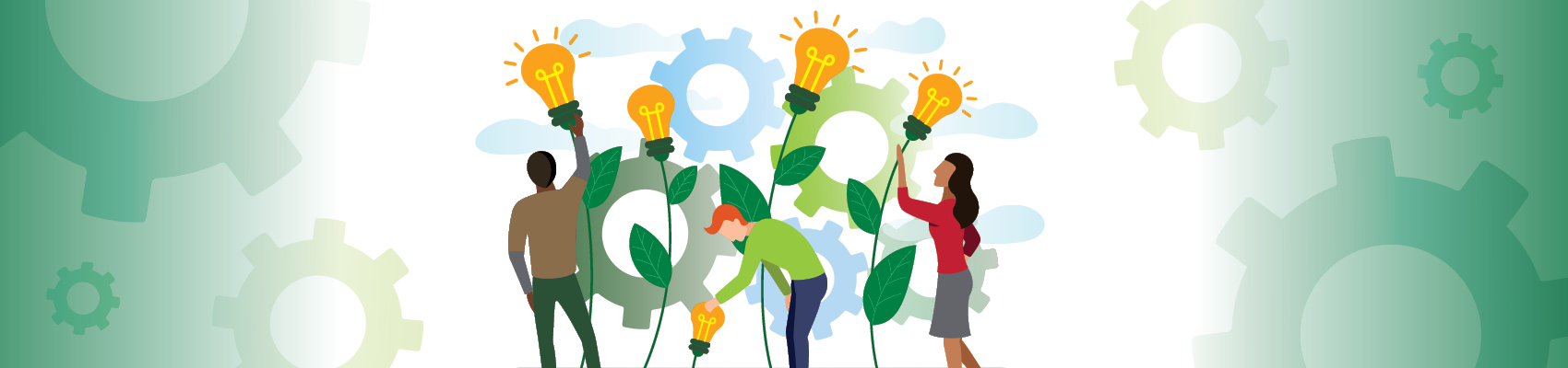 Team of innovators tending a garden of idea 'light bulbs'