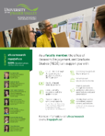A flyer that breaks down how the Research Office can support UFV faculty.